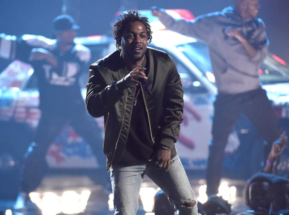 Kendrick Lamar performing at the BET Awards at the Microsoft Theater in Los Angeles on June 28, 2015.
