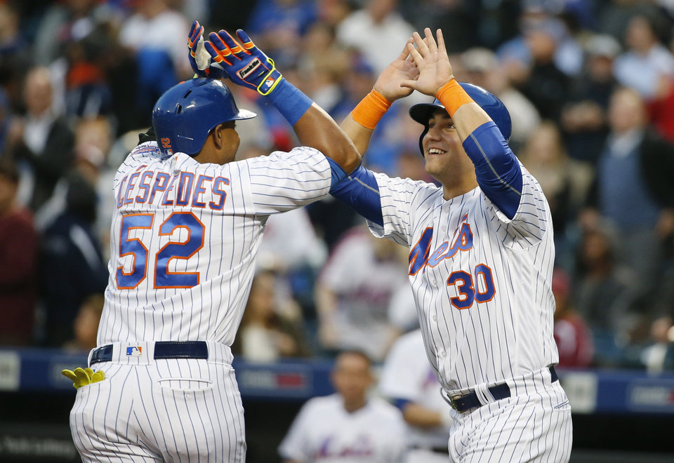 New+York+Mets+Michael+Conforto%2C+right%2C+greets+Mets+Yoenis+Cespedes+%2852%29+after+scoring+on+Cespedes%27s+first-inning%2C+two-run%2C+home+run+in+a+baseball+game+against+the+Atlanta+Braves%2C+Monday%2C+May+2%2C+2016%2C+in+New+York.+%28AP+Photo%2FKathy+Willens%29