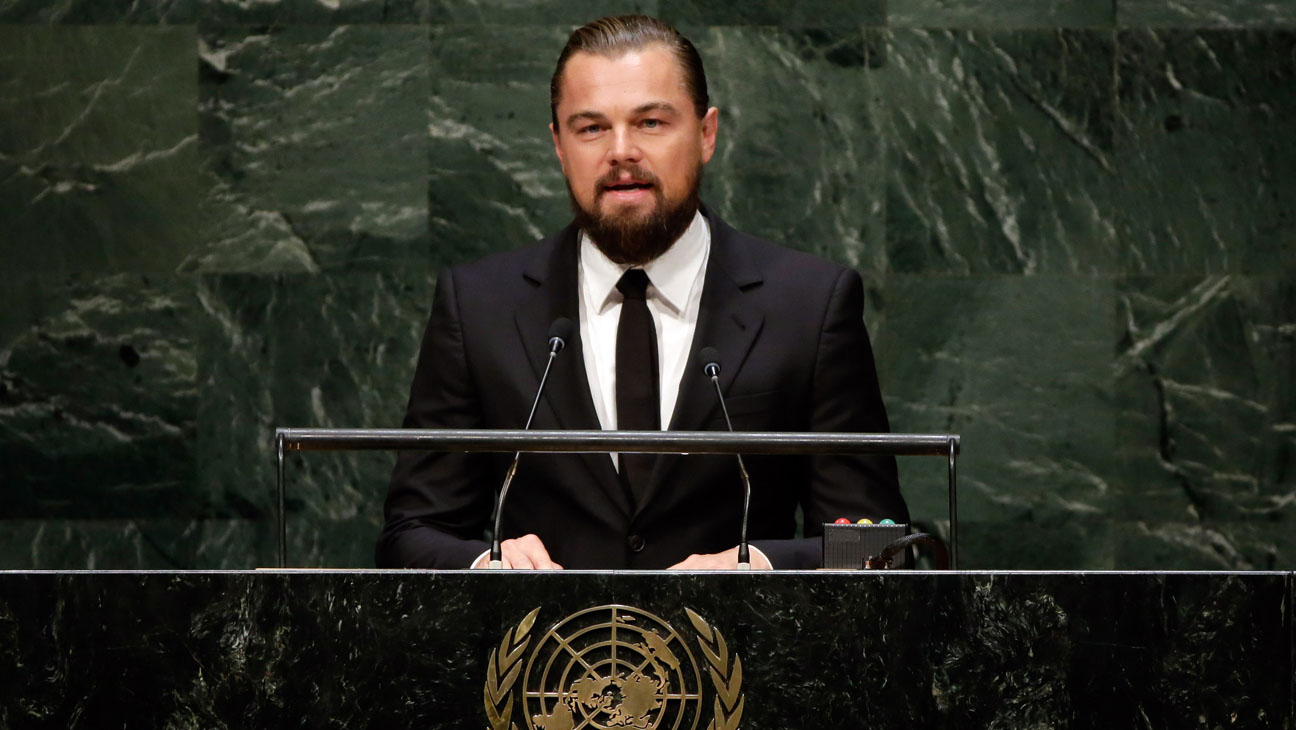 Leonardo DiCaprio, actor and United Nations Messenger of Peace, addresses the Climate Change Summit, at U.N. headquarters, Tuesday, Sept. 23, 2014. (AP Photo/Richard Drew)