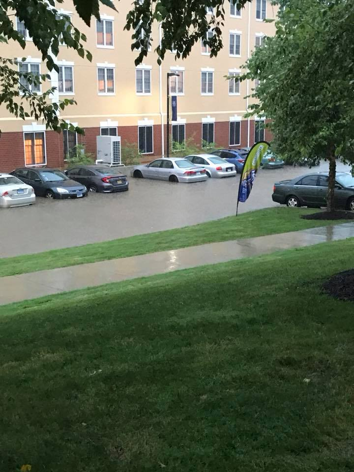 Flooding between Gerber Hall and the Beckerman Recreation Center.