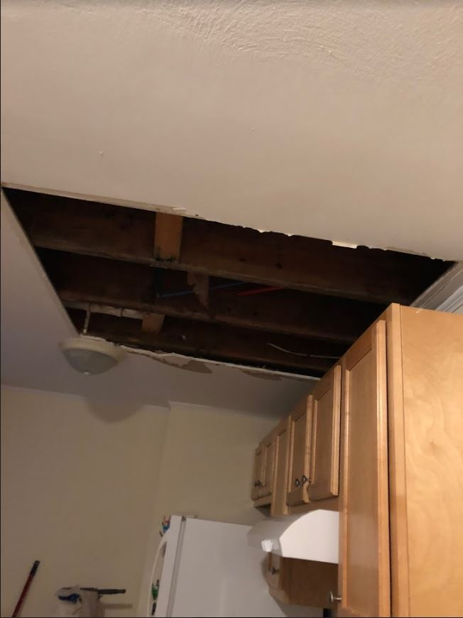 Ceiling Repairs Continue in Savin Apartment
