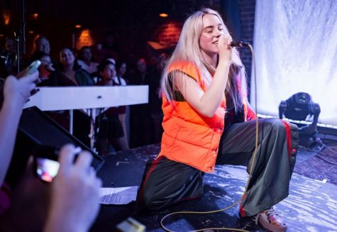 Billie Eilish performs live to an excited crowd.