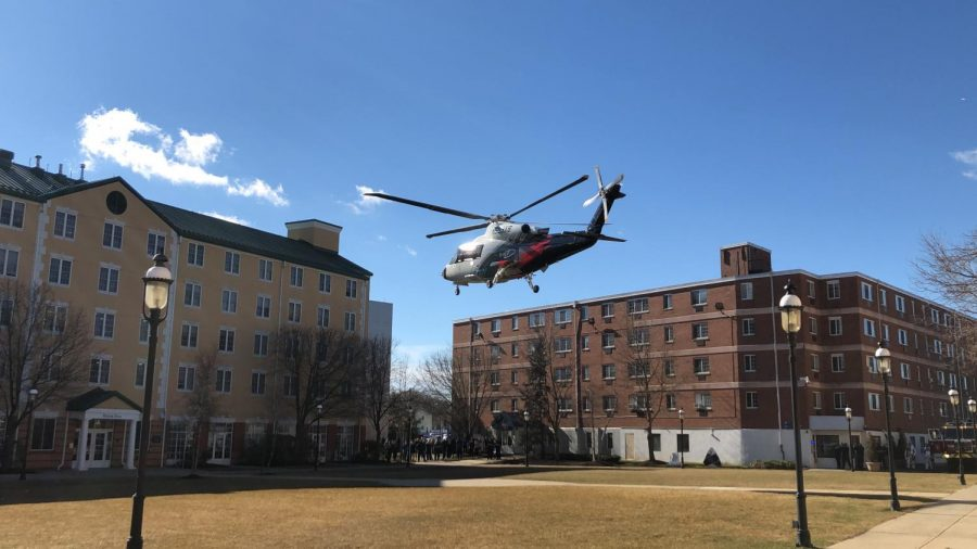 Sikorsky S-76D helicopter landing on University of New Haven campus.