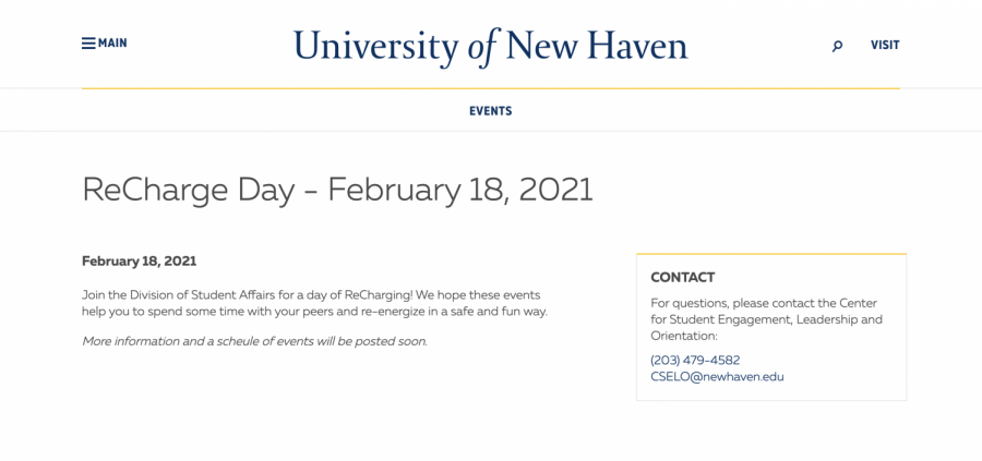 Screenshot of the ReCharge Day webpage on newhaven.edu