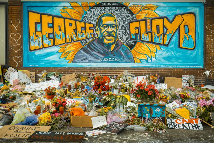 A+makeshift+memorial+and+mural+outside+Cup+Foods%2C+where+George+Floyd+was+killed+by+a+Minneapolis+police+officer