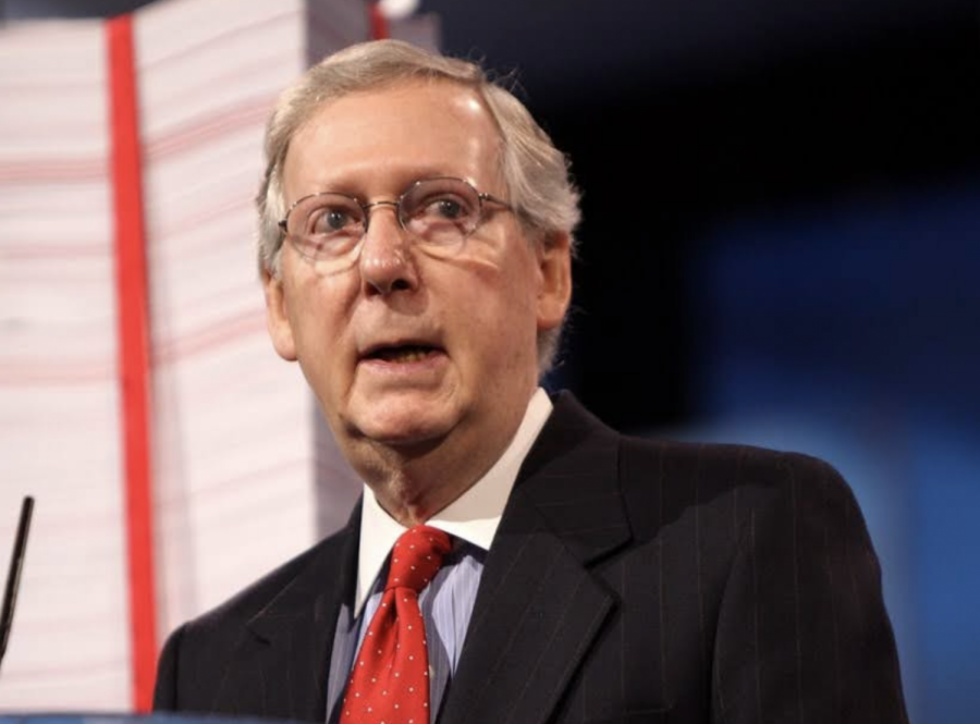 Senate+Minority+Leader+Mitch+McConnell+condemns+the+involvement+of+business+in+politics