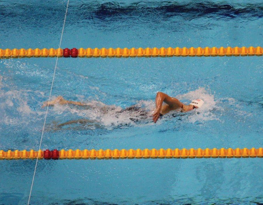 Katie Ledecky swims at the London 2012 Aquatics Centre 1.