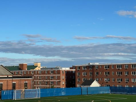 Kayo Field, Winchester Hall and Sheffield Hall before the soccer match, Oct. 5, West Haven