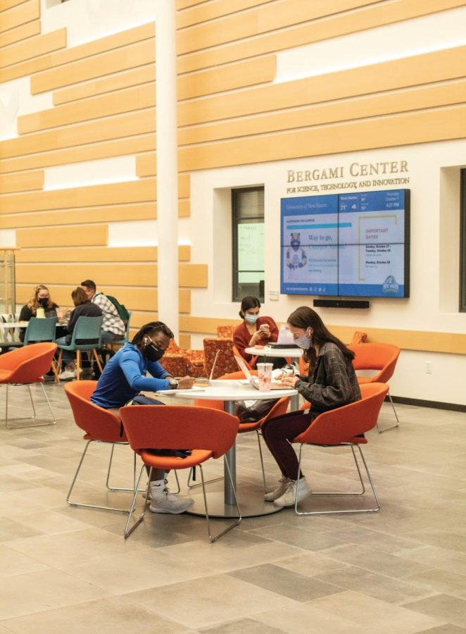 Students work inside of the Bergami Center, West Haven.