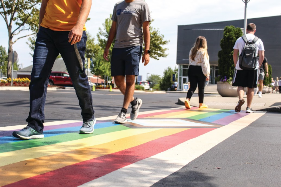 Students walk across the rainbow crosswalk, West Haven.