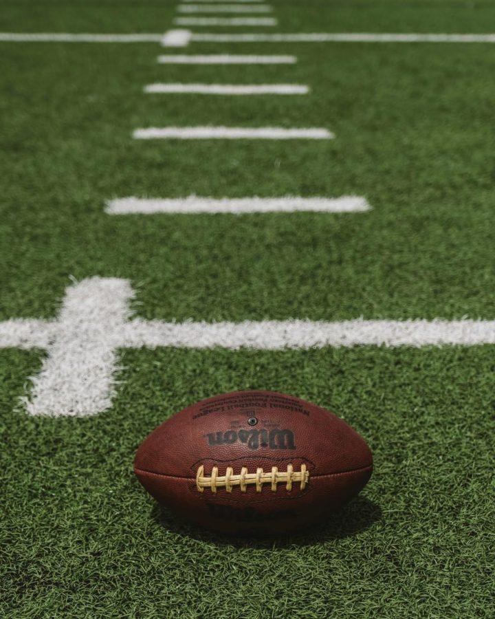 A+football+on+a+field
