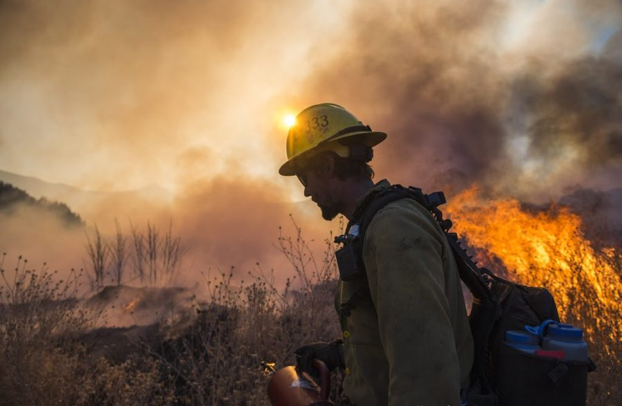 The Thomas Fire burns in the hills above Los Padres National Forest during a firing operation.